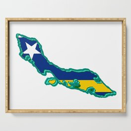 Curacao Map with Flag Serving Tray