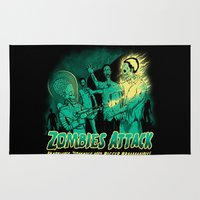 zombies Area & Throw Rugs featuring Zombies Attack by Pigboom Art