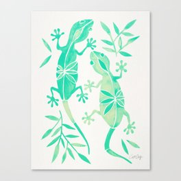 Geckos – Mint Palette Canvas Print