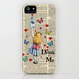 Drink Me - Vintage Dictionary Page - Alice In Wonderland iPhone Case