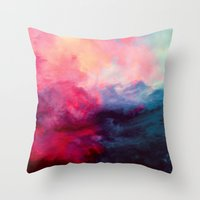 dark side of the moon Throw Pillows featuring Reassurance by Caleb Troy