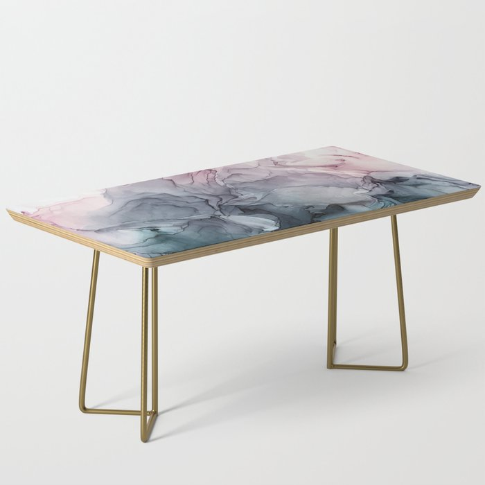 Blush and Payne's Grey Flowing Abstract Painting Coffee Table