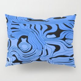 Striped interweaving of blue spots from bright flowing lava and dark horizontal spots. Pillow Sham
