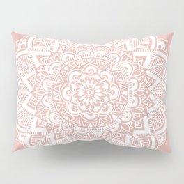 Boho White Mandala on Rose Gold Pillow Sham