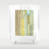 buildings Shower Curtains featuring Buildings by Shelley Savor