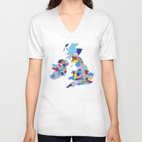 scotland V-neck T-shirts featuring England, Ireland, Scotland & Wales by Project M