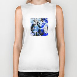 Baseball Abstract Blues Biker Tank