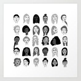 Women faces in black and white Art Print
