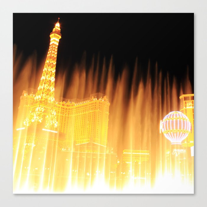 The golden fountains of Bellagio in Vegas Canvas Print