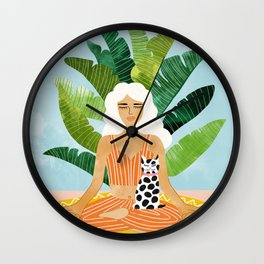 Meditation With Thy Cat #illustration #painting Wall Clock