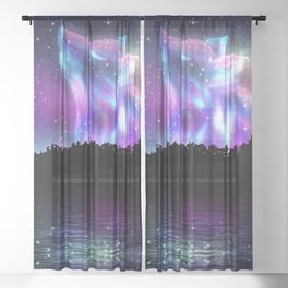 Northern landscape with howling wolf spirit and aurora borealis Sheer Curtain