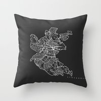 stockholm Throw Pillows featuring STOCKHOLM by Nicksman