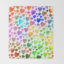 Watercolor Hearts Throw Blanket
