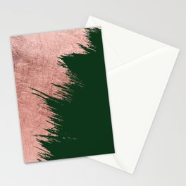 Forest green abstract rose gold brushstrokes  Stationery Cards