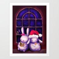 Chubby bunnies at christmas night Art Print