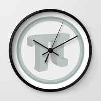 pi Wall Clocks featuring Pi by Lady Starc