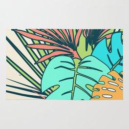 Tropical leaves cream Rug