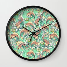 Golden Koi Fish in Pond Wall Clock
