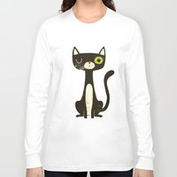 black cat Long Sleeve T-shirts featuring Black Cat by Monster Riot