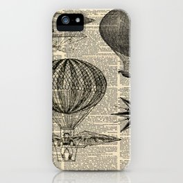 newspaper print victorian steampunk airship plane hot air balloon iPhone Case