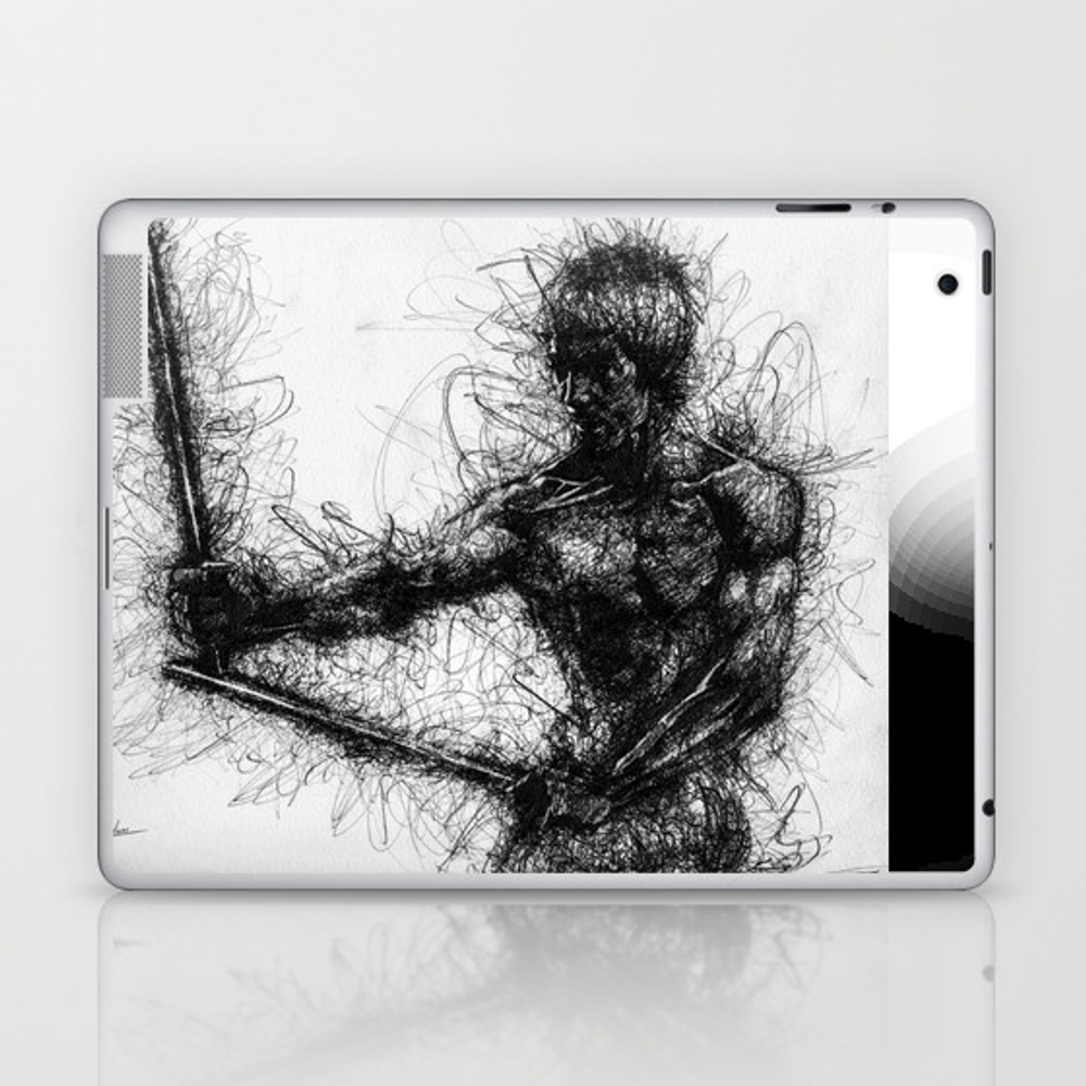 Bruce Kung Fu Master Lee, Drawing, Wall Art, Kung … Laptop & Ipad Skin by Juliolucas LSK8502345