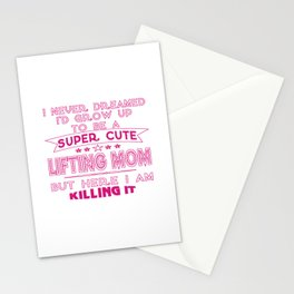 SUPER CUTE A LIFTING MOM Stationery Cards