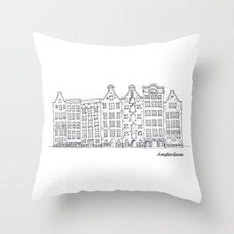 Amsterdam Streetscape Throw Pillow