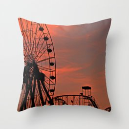 Sundown in Fun Town Throw Pillow
