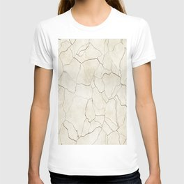 Abstract elegant brown ivory modern trendy marble T-shirt