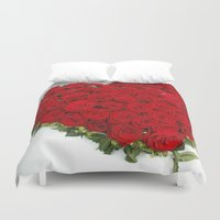 mercedes Duvet Covers featuring Heart of red roses by Premium