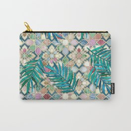 Muted Moroccan Mosaic Tiles with Palm Leaves Carry-All Pouch