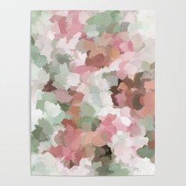 Sage Mint Green Fuchsia Blush Pink Abstract Flower Wall Art, Springtime Painting Print, Modern Wall Poster