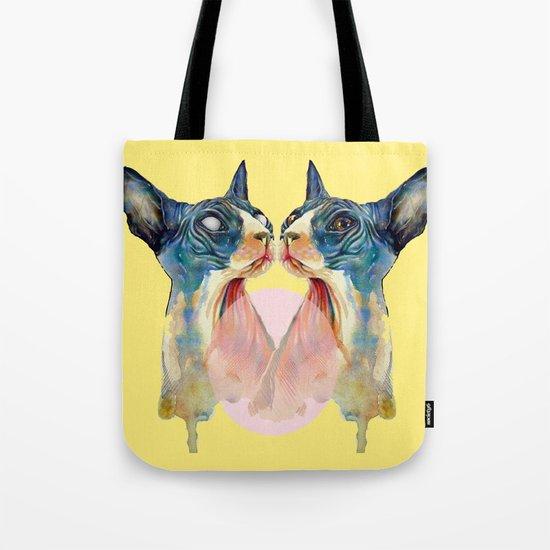 cat yellow Tote Bag