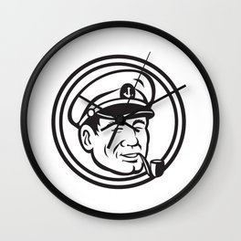 Sea Captain Pipe Smoke Circle Black and White Wall Clock