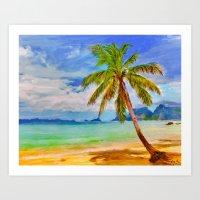 Single Swaying Palm Art Print
