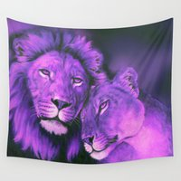lions Wall Tapestries featuring Lions Purple by Moody Muse