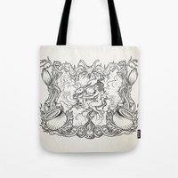 coven Tote Bags featuring The Flying Sabbath by Jorge jaramillo