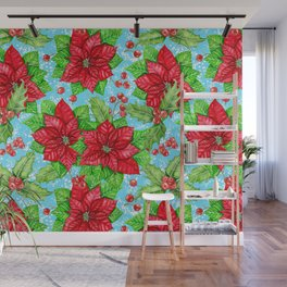 Poinsettia and holly berry Christmas pattern Wall Mural