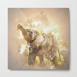 Elephant - It's Tea Time! Metal Print