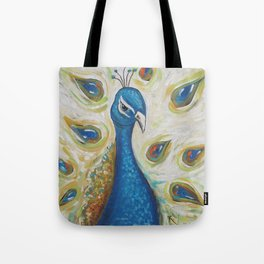 Peacock with White Tote Bag