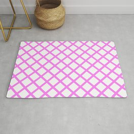 Diamonds Geometric Pattern White and Rose Pink Rug
