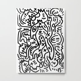 Graffiti Street Art Black and White Metal Print