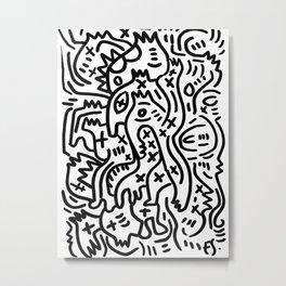 Graffiti Street Art Black and White Metal Print