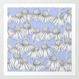 Realistic Daisy pattern on a blue background. Art Print