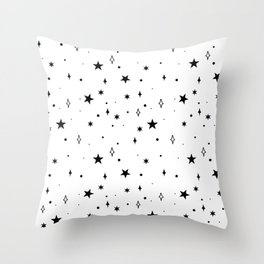 Stars in Space Pattern (black/white) Throw Pillow