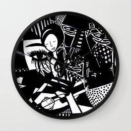 Jazzy Black and White Artwork: 'Jazzy' Wall Clock