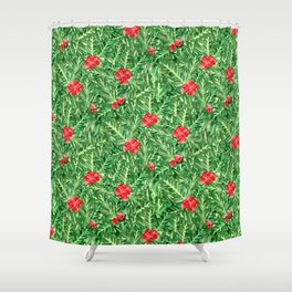 Holly Jolly Christmas Leaves & Berries (Small Pattern) Shower Curtain