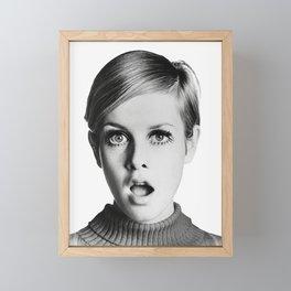 Twiggy, Retro Fashion Icon, Vintage Black and White Art Framed Mini Art Print