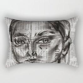 Alert - Charcoal on Newspaper Figure Drawing Rectangular Pillow