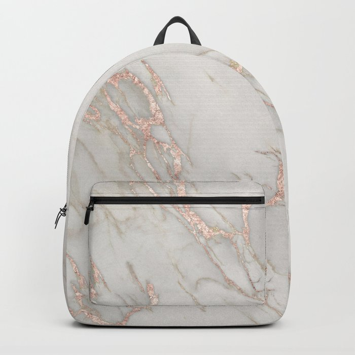 Marble Rose Gold Blush Pink Metallic by Nature Magick Rucksack